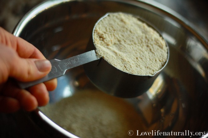 Add Dry ingredients to a medium sized bowl, while melting your coconut oil and honey, if needed.