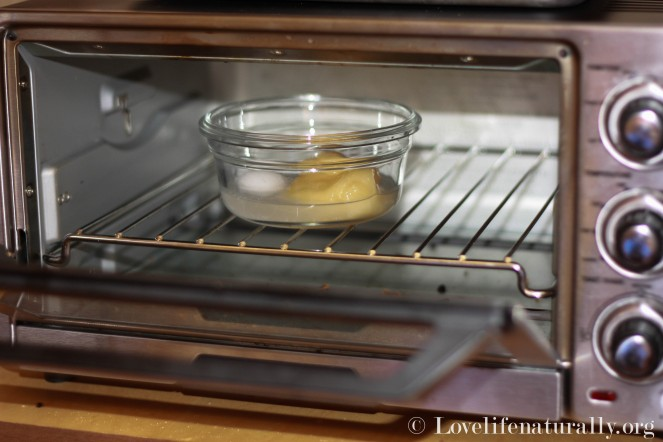 I kicked my microwave to the curb, so I melt my coconut oil and honey in a toaster oven!  It just takes a few minutes.