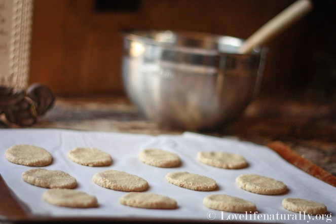 Lay out onto parchment lined cookie sheet and place in a preheated oven at 325 degrees.